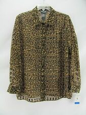 Notations Leopard Print Blouse New Size Large  NYZ12