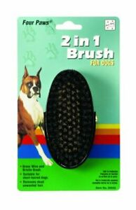 FOUR PAWS 2IN1 OVAL SOLID BRISTLE EZ GRIP GROOM BRUSH.. FREE SHIPPING IN THE USA