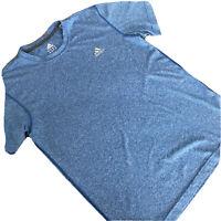 adidas Men Climalite Workout Shirt Short Sleeve Blue Athletic Medium