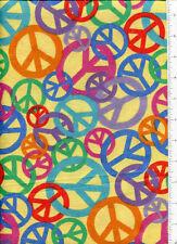 retro ~ PEACE SIGN CHAIN ~ flannel fabric retired
