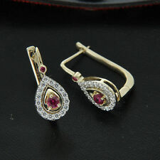 0.75ct Natural Ruby and Diamond 14k Yellow Gold  Russian Clip Hoop Earrings
