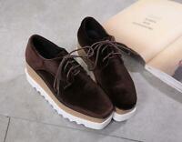 Women Square Toe Shoes Wedge Platform Low Top Lace up Heels Suede Ske15