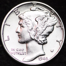 1944-P AU MERCURY DIME / PHILADELPHIA MINT ALMOST UNCIRCULATED 90% SILVER COIN