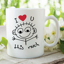 Printed Ceramic Mug I Love You This Much Mug Gift Girlfriend Boyfriend WSDMUG362