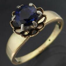 Vintage Floral Basket Setting 9K SOLID YELLOW GOLD SAPPHIRE FRIENDSHIP RING Sz O