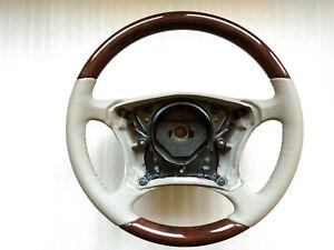 Mercedes-Benz W220 W215 BEIGE LEATHER Steering wheel WALNUT WOOD OEM