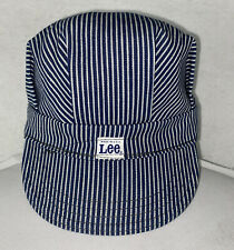 Vintage Lee Striped Engineers Train Conductors Hat Cap Union Made USA Size 6 7/8