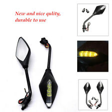 LED Turn Signal Lights Indicators Rear View Mirrors For 10MM Motorcycle Durable