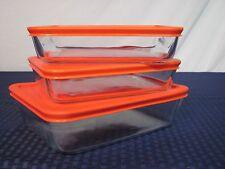 Pyrex 6pc. Food Storage Dishes w/Lids (3&3) Glass w/Orange Plastic 7210 & 7211