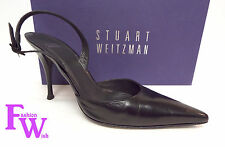 STUART WEITZMAN Size 9 Black Kid Leather Slingback Heels Pumps Shoes