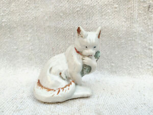 """1930s Vintage Cat Holding Fish Porcelain Figure Decorative Collectible 3"""" Tall"""