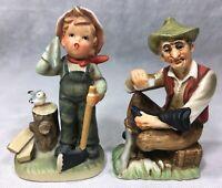Figurines Lot Napcoware Boy Chopping Wood Bluebird Axe & Old Man Boot Shoe Shine