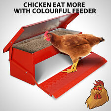 5KG Chicken Feeder Automatic Treadle Self Opening Duck Food Red Colour