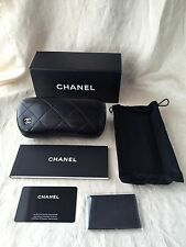 New Chanel Classic Black Quilted Eyeglass Case, Pouch,Cloth,Box, Made in Italy