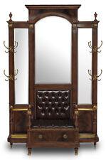 Italian Leather Upholstered Mahogany Hall Tree