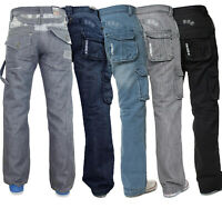 Mens Enzo Cargo jeans Combat Casual Denim Trousers Pants All Waist Leg Sizes