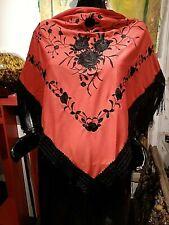 Dreiecksschal Manton Flamenco Andalus Rot/Schwarz - Satinbestickt mit Fransen