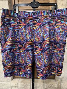 Hreski Men's Golf Shorts Abstract Psychedelic Color Size 40 Inches Excellent