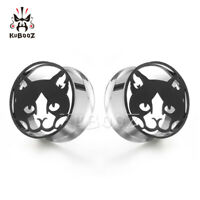 Lovely Black Cat Design Ear Gauges and Ear Tunnels Body Piercing  Ear Plugs 2pcs