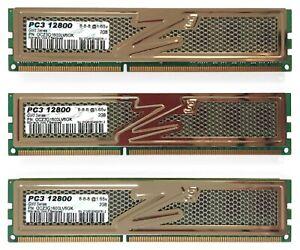 *USED* OCZ Gold 6GB (3 x 2GB) DDR3 PC3-1280 (1600MHz) OCZ3G1600LV6GK SDRAM Kit