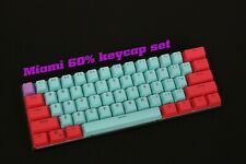 61 Key PBT Thick 60% Keycaps Miami ANSI Layout for Mechanical Keyboards Backlit