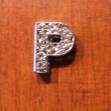 lot de 2 lettres P strass 12x9 mm pour bracelet 8 mm