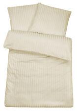 Bettwäsche 240 x 220 Creme Streifen Damast Beige 3 tlg Paar Doppelbett Baumwoll