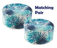 PAIR (x2) Inflatable Pouffe Ottoman Student Family Extra Seating Blue/White