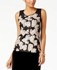 Alfani Womens Size XL Sleeveless Rose Shimmer Sequin Tank Top Blouse $79