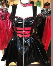 Misfitz  black/red pvc buckle skater dress+choker size 18 TV CD Goth Rockabilly