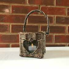 Vintage Wicker Glass Insert Heart Ornament Lantern Candle Holder Carrier Basket