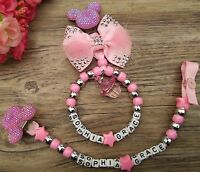 Set of 2 Personalised pram charm &dummy clip holder 4 pram,carseat  pink