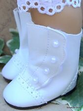"""WHITE w/ Pearl Buttons VICTORIAN DOLL BOOTS SHOES fit 18"""" AMERICAN GIRL DOLL Q/Z"""