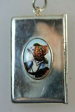 Silver Double Stamp Case inset with enamel of Female