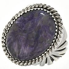 Navajo Mens Big Boy Sterling Silver Ring Dogtooth Amethyst