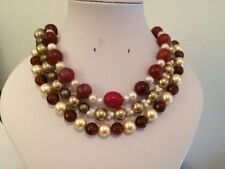 Round Coral Beaded Costume Necklaces & Pendants