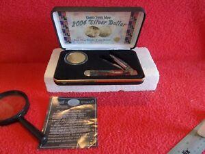 U.S. MINT/W.R.CASE 2004 24 CARAT GOLD PLATE SILVER DOLLAR COIN & CASE KNIFE # 11