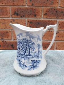 Vintage Alfred Meakin Edinburgh Staffordshire England blue + cream milk jug