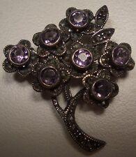 & Amethyst Tree Brooch New Gorgeous Women'S Sterling Silver Marcasite