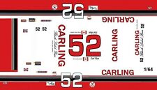 #52 Earl Ross Carling Black Label 1974 1/64th Ho Scale Slot Car Decals