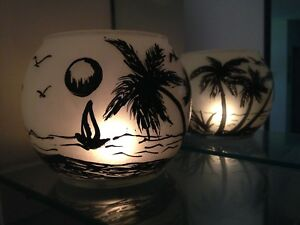 Candles Holders Glass Vass Hand Painted beach Gift Light