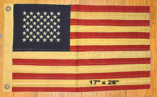 "Small ~ 17"" x 28"" ~ Tea-stained USA FLAG ~ 100% cotton - stitched stars"