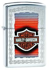 Zippo Harley Davidson Lighter With Colorful Logo & Etched Chain, 29559, NIB