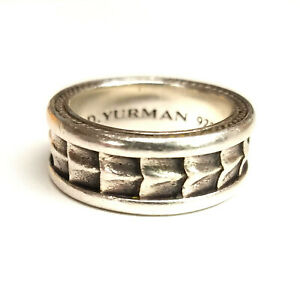 Mens David Yurman Armory Sterling Silver Ring - Size 8.5, 15.1 Grams w/ Pouch