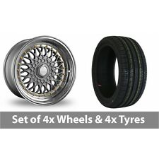 """4 x 15"""" Dare DR-RS Silver Gold Rivets Alloy Wheel Rims and Tyres -  195/45/15"""