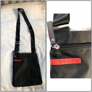 Prada Milano Made in Italy Nylon Messenger Bag Black - Crossbody
