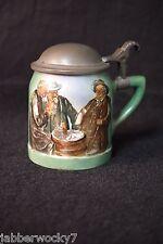 Antique Hand Painted German Lidded Stein - NO Markings - Old Men Drinking Beer