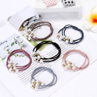 5Pcs Random Color Pearl mix Fashion pearl rubber band hair ring for Charm Women