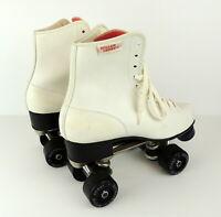 Vintage Roller Derby Roller Skates Womens 9 White Faux Leather Rollerskates