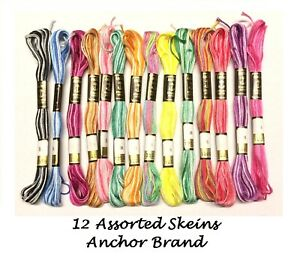 12 ANCHOR PEARL COTTON SKEINS CROSS STITCH FLOSS EMBROIDERY VARIOUS FINE COLOURS
